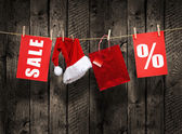 Christmas SALE on wood background — Stock Photo