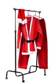 Santa Claus clothes on clothes stander — Stock Photo