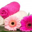 Spa still life with aromatic candles, flower and towel — Stockfoto