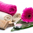 Spa still life with handmade soap — Stock Photo