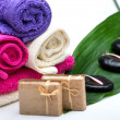Spa,towels,soap and zen stones — Stock Photo