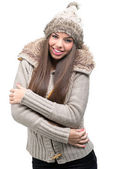 Woman in winter clothes — Stockfoto