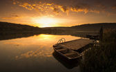 Boat on the Pier at sunrise — Stock Photo