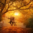 Romantic couple swing in the autumn park — Stock Photo #38111301
