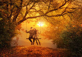 Romantic couple swing in the autumn park — Stock Photo