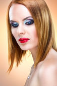 Special blond woman with beautiful make-up — Stock Photo