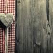 Big heart wood - on plaid fabric — Стоковое фото
