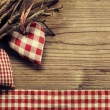 Stock Photo: Textile hearts on twig - Harmony background