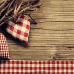 Textile hearts on twig - Harmony background — Stock Photo