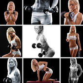 Weight training collage. Woman training — ストック写真