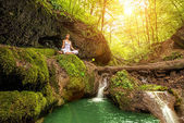 Woman relaxation in forest — Stock Photo