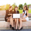 Three Successful businesswomen in the city on a bench discussed — Stock Photo #47347969
