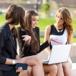 Three Successful businesswomen in the city on a bench discussed — Stock Photo #47347975