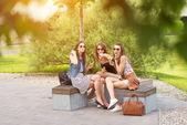 Tři krásné přítelkyně jíst zmrzlinu, vystupují pod stromeček — Stock fotografie