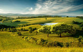 Hilly landscape with lake — Foto Stock