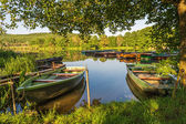 Boats in harbor at Lake — Stock Photo