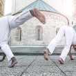 Capoeira partners performing kicks — Stock Photo #48479677