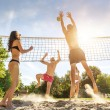 Friends Playing Volleyball On Beach — Stock Photo #49329023