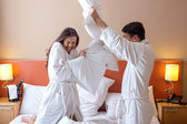 Couple Having Pillow Fight — Stock Photo