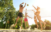 Friends Playing Volleyball On Beach — Stock Photo