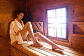 Pretty woman in sauna — Stock Photo