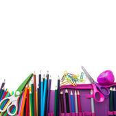School stationery in heap — Stock Photo