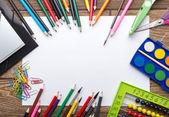 School stationery frame — Stock Photo