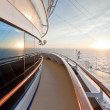 View of sunset from ocean ship - Stock Photo