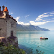 Scenic view of Chillon castle and Lac Leman - Stock Photo