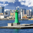 Lighthouse at seaport, Naples (Italy) — Stock Photo