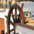 Old helm on a sailing ship — Stock Photo
