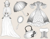 Vintage women fashion set. vector — Stock Vector
