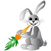 Cute bunny holding carro — Stock Vector