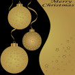 Christmas balls on the yellow background — Stockvektor