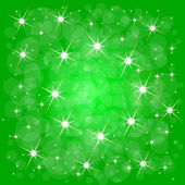 Green christmas background with stars — Stock Vector
