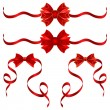 Set of red gift bows with ribbons — Stock Vector