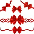 Stock Vector: Set of red gift bows with ribbons