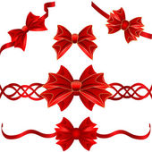 Set of red gift bows with ribbons — Vetorial Stock