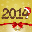 New Year 2014 with Santa hat — 图库矢量图片