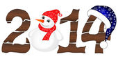 New Year 2014 From Wood With Snowman — Stock Vector