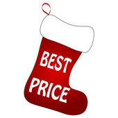 Christmas Socks with Best Price sign — ストックベクタ