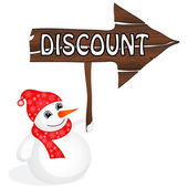 Snowman with Discount sign — Vector de stock