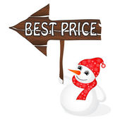 Snowman with Best Price sign — Stockvector