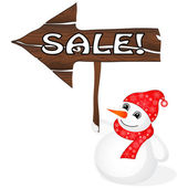 Snowman with Sale sign — Stock Vector