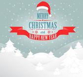 Tarjeta de felicitación de navidad feliz — Vector de stock