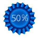 Blue Label-50 percent — Stock Vector