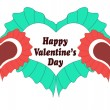 Happy Valentines day card with heart. — Stock Vector