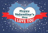 Happy Valentines day card with heart. — Stock vektor
