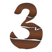 Wood Numbers 3 — Stock Vector