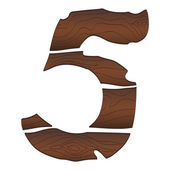 Wood Numbers 5 — Stock Vector